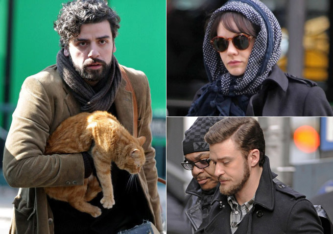 Oscar Issacs, Carey Mulligan, and Justin Timberlake seen on set in February 2012