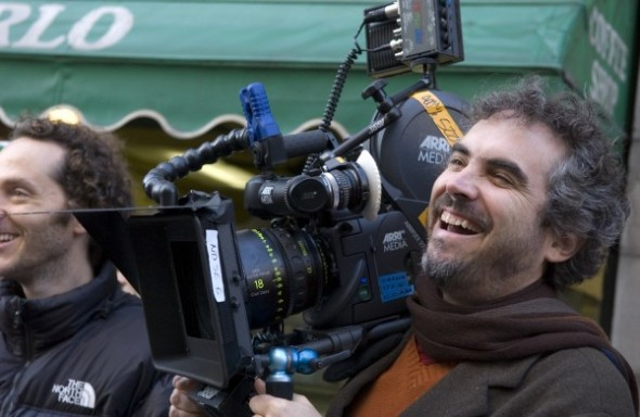 Alfonso Cuaron on the set of his newest movie, Gravity