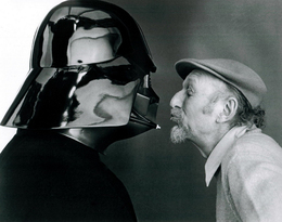 Irvin Kershner sharing an intimate moment with Darth Vader's suit
