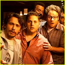 Franco, Hill,Rogen (in front) Jay Barchuel, and Craig Robertson (in back) in This Is The End