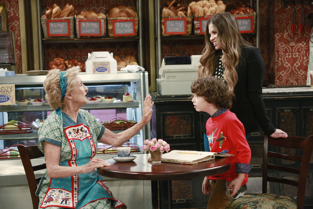 """GIRL MEETS WORLD - """"Girl Meets Gravity"""" - Riley and Maya are anxious to begin eighth grade and have a new teacher, that isn't Riley's father. Meanwhile, Mrs. Svorski asks Topanga to take over at the bakery. This episode of """"Girl Meets World"""" airs Monday, May 11 (8:30 PM - 9:00 PM ET/PT), on Disney Channel. (Disney Channel/Ron Tom) CLORIS LEACHMAN, AUGUST MATURO, DANIELLE FISHEL"""