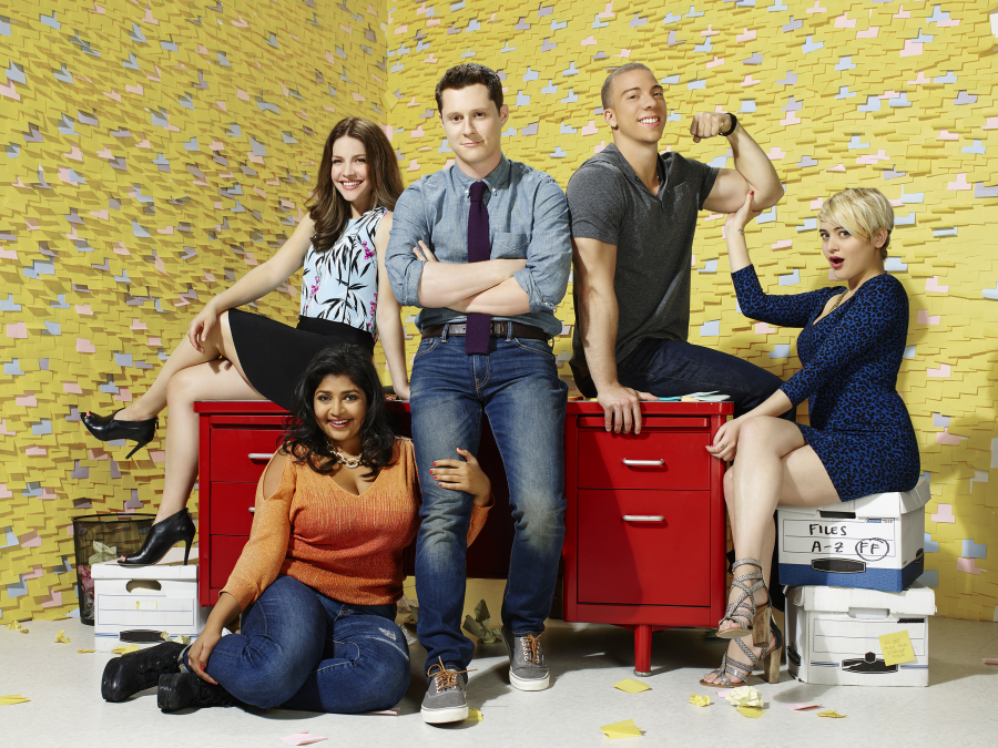 """KEVIN FROM WORK - ABC Family's """"Kevin From Work"""" stars Paige Spara as Audrey, Punam Patel as Patti, Noah Reid as Kevin, Matt Murray as Brian and Jordan Hinson as Roxie. (ABC Family/Scott F. Schafer)"""