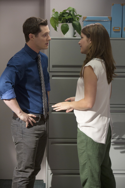 """KEVIN FROM WORK - """"Gossip From Work"""" - In """"Gossip From Work,"""" airing at 8:30 PM ET/PT, Kevin and Audrey aren't sure how to deal with the awkwardness of working together after Kevin's feelings have been made known. Thinking it's best if they aren't around each other, Kevin asks to move his desk. But neither is happy with the new arrangement, and things get even more uncomfortable when the story of Kevin's letter somehow makes it into the office newsletter. Meanwhile, Brian tries to get rid of a new friend he made to replace Kevin, now that Kevin is staying in town. And Roxie decides to """"break up"""" with Patti for Kevin and ends up bonding with her.  (ABC Family/Adam Rose) NOAH REID, PAIGE SPARA"""