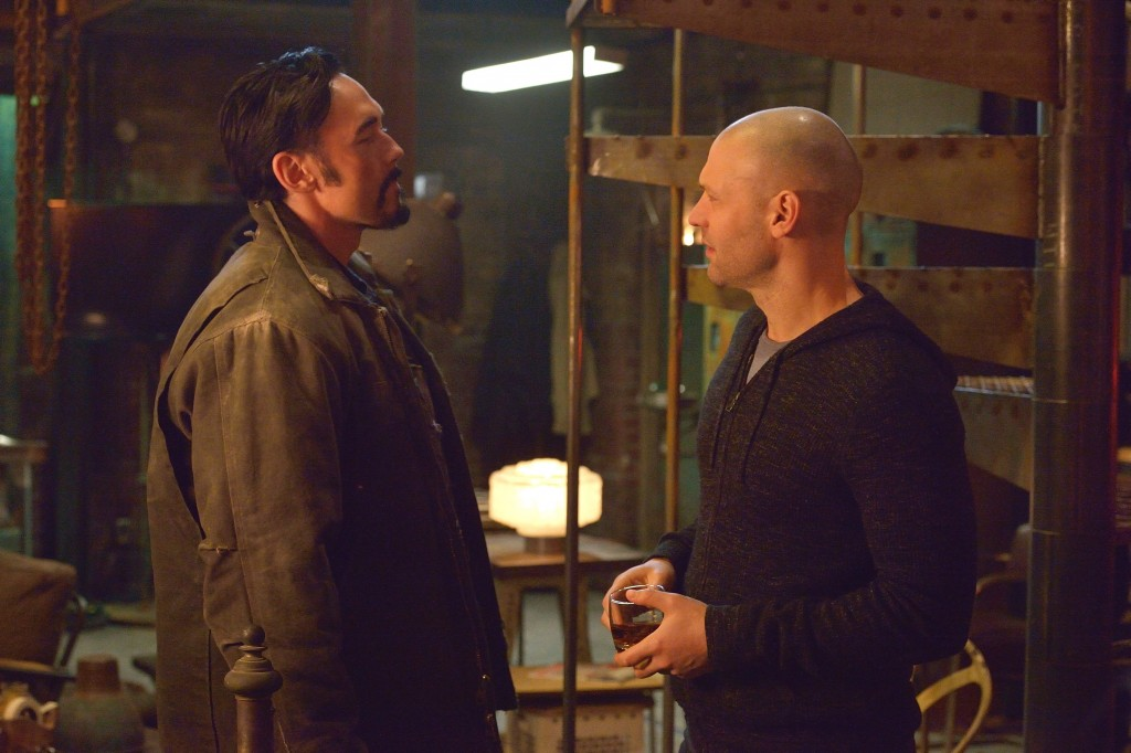 "THE STRAIN -- ""The Born"" -- Episode 207 (Airs August 23, 10:00 pm e/p) Pictured: (l-r) Kevin Durand as Vasiliy Fet, Corey Stoll as Ephraim Goodweather. CR: Michael Gibson/FX"