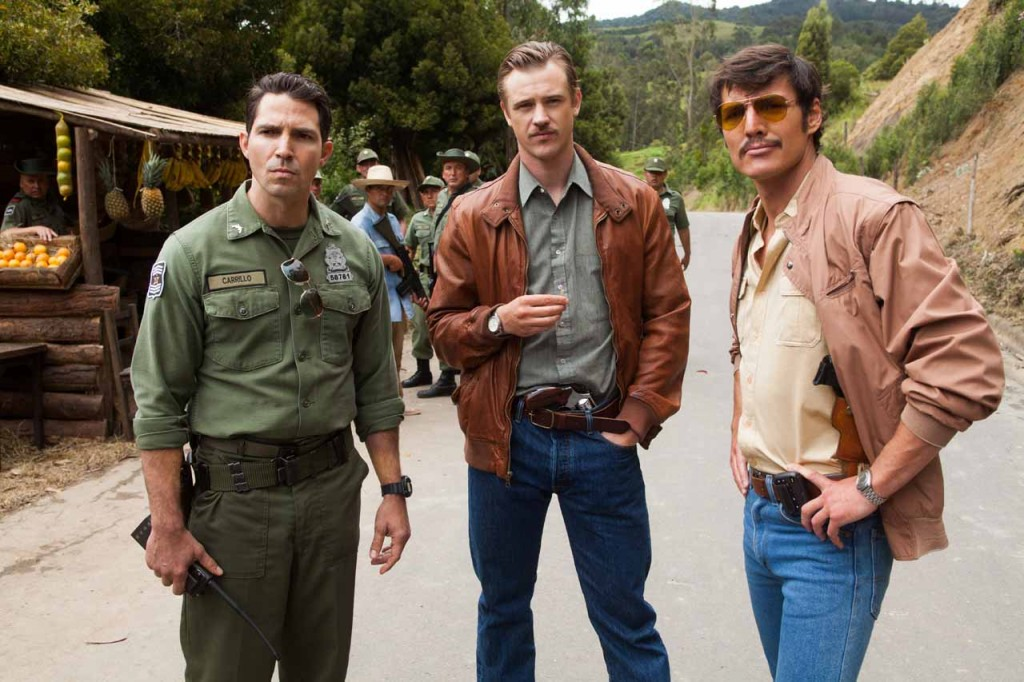 """(L to R) MAURICE COMPTE, BOYD HOLBROOK and PEDRO PASCAL star in NARCOS. NARCOS S01E03 """"The Men of Always"""""""
