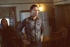 FARGO -- ÒBefore The LawÓ -- Episode 202 (Airs October 19, 10:00 pm e/p) Pictured: (l-r) Jeffrey Donovan as Dodd Gerhardt, Zahn McClarnon as Ohanzee Dent. CR: Chris Large/FX