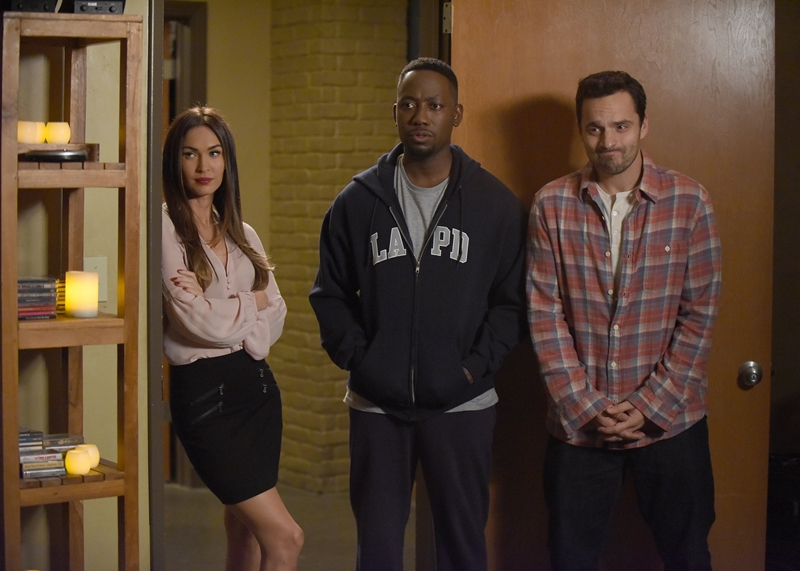 "NEW GIRL: L-R: Guest star Megan Fox, Lamorne Morris and Jake Johnson in the ""Reagan"" episode of NEW GIRL airing Tuesday, Feb. 9 (8:00-8:30 PM ET/PT) on FOX. ©2016 Fox Broadcasting Co. Cr: Ray Mickshaw/FOX"