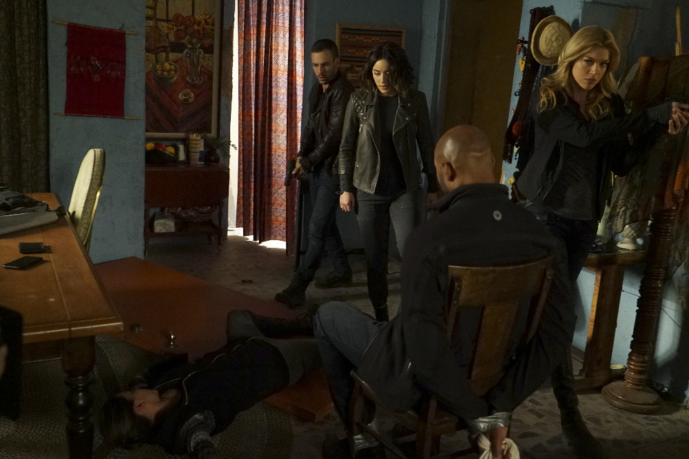 "MARVEL'S AGENTS OF S.H.I.E.L.D. - ""Bouncing Back"" - In the midseason premiere, ""Bouncing Back,"" in the aftermath of his trip to Maveth, Coulson is more determined than ever to get to Gideon Malick and put an end to Hydra once and for all. Meanwhile, Daisy and the team encounter more Inhumans who have powers like they've never seen before, but will they be friends or enemies of S.H.I.E.L.D.? ""Marvel's Agents of S.H.I.E.L.D."" returns for a game-changing second half of Season Three, TUESDAY, MARCH 8 (9:00-10:00 p.m. EST) on the ABC Television Network. (ABC/Eric McCandless) NICK BLOOD, CHLOE BENNET, HENRY SIMMONS, ADRIANNE PALICKI"