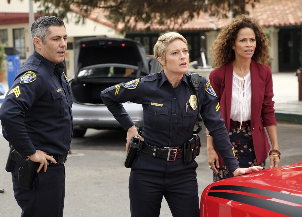 "THE FOSTERS - ""Potential Energy"" - Tensions run high as Stef and Lena are called to action when the school is put on lockdown after it's discovered that Mariana's boyfriend Nick brought a gun on campus, on the fourth season premiere of ""The Fosters,"" airing MONDAY, JUNE 20 (8:00 - 9:00 p.m. EDT), on Freeform. (Freeform/John Fleenor) DANNY NUCCI, TERI POLO, SHERRI SAUM"