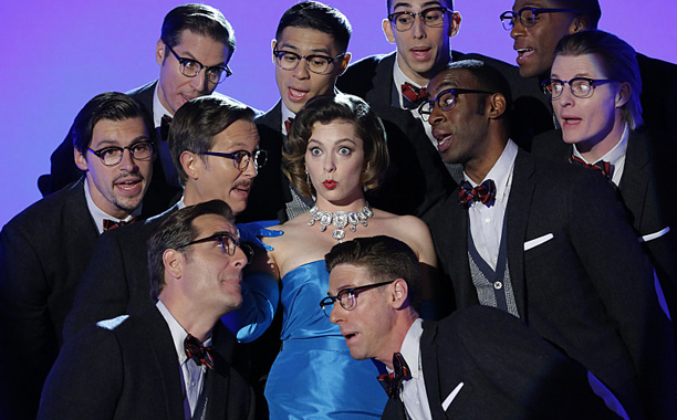 """Crazy Ex-Girlfriend -- """"All Signs Point To Josh--¦Or is It Josh's Friend?"""" -- Image Number: CEG203b_0238.jpg -- Pictured (center): Rachel Bloom as Rebecca -- Photo: Robert Voets/The CW -- В©2016 The CW Network, LLC. All Rights Reserved."""