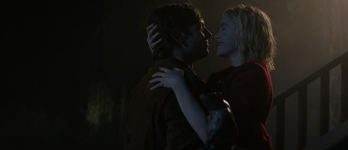 Harvey and Sabrina kissing on The Chilling Adventures of Sabrina