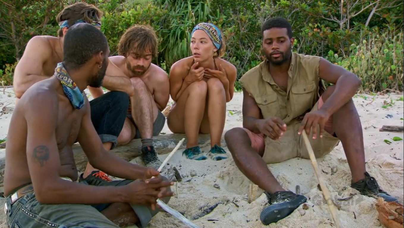 Carl, Gabby, Nick, Davie, and Christian talking about their powers on Survivor: David vs. Goliath