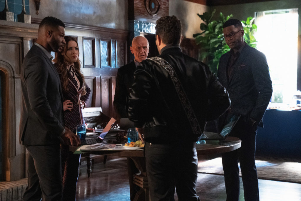 Jeff, Anders, Muchael, Sam, and Fallon plotting a plan to save Kirby on Dynasty
