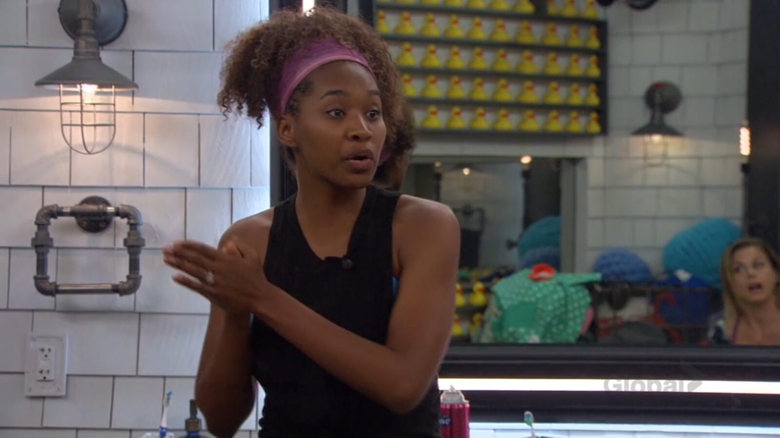 Bayleigh defending herself against Christmas on Big Brother: All-Stars