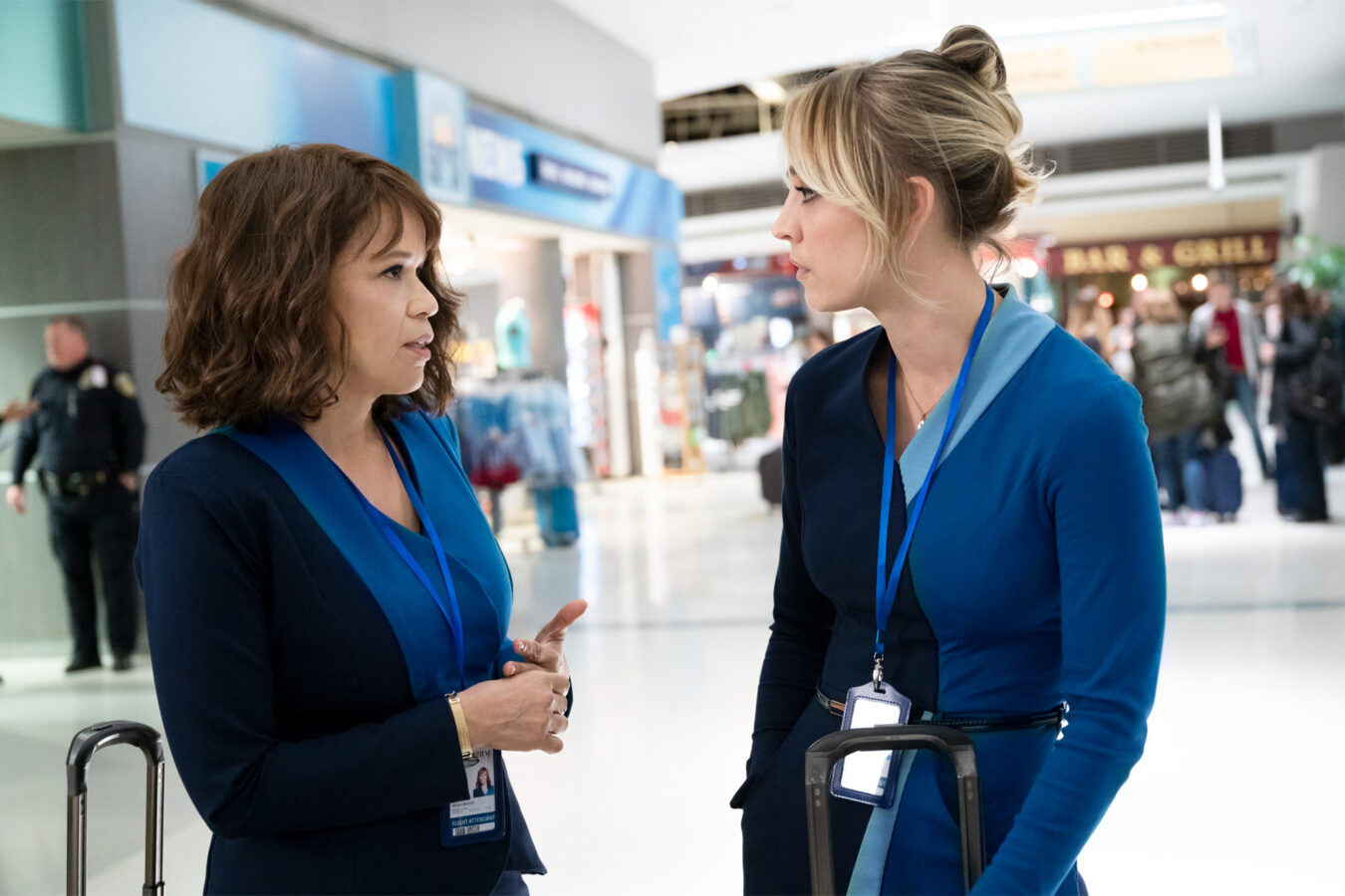 Rosie Perez and Kaley Cuoco in The Flight Attendant
