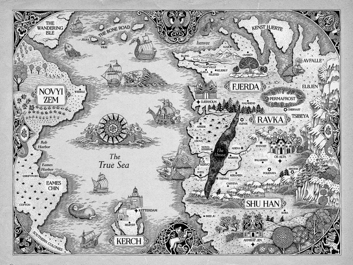 A map of the world that Shadow and Bone is set in, also known as the Grishaverse.