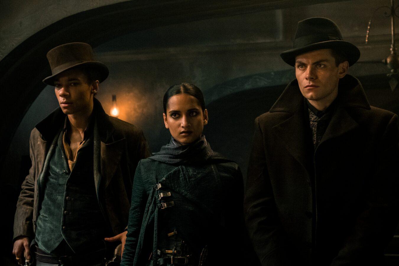 [L to R] Kit Young as Jesper Fahey, Amita Suman as Inej Ghafa, and Freddy Carter as Kaz Brekker of Shadow and Bone. Credit: David Appleby. Courtesy of Netflix.