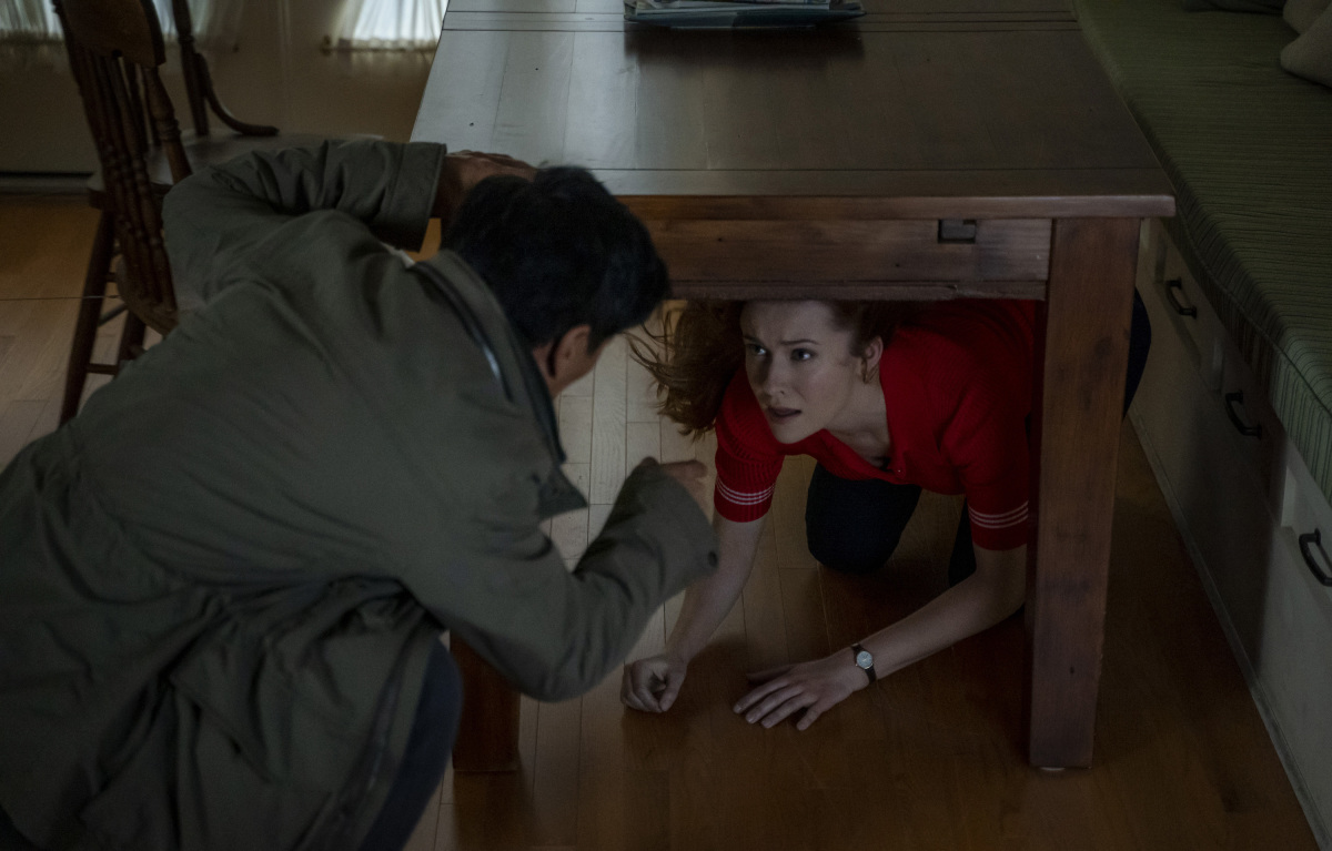 AJ helping Nancy fight spirits on Nancy Drew