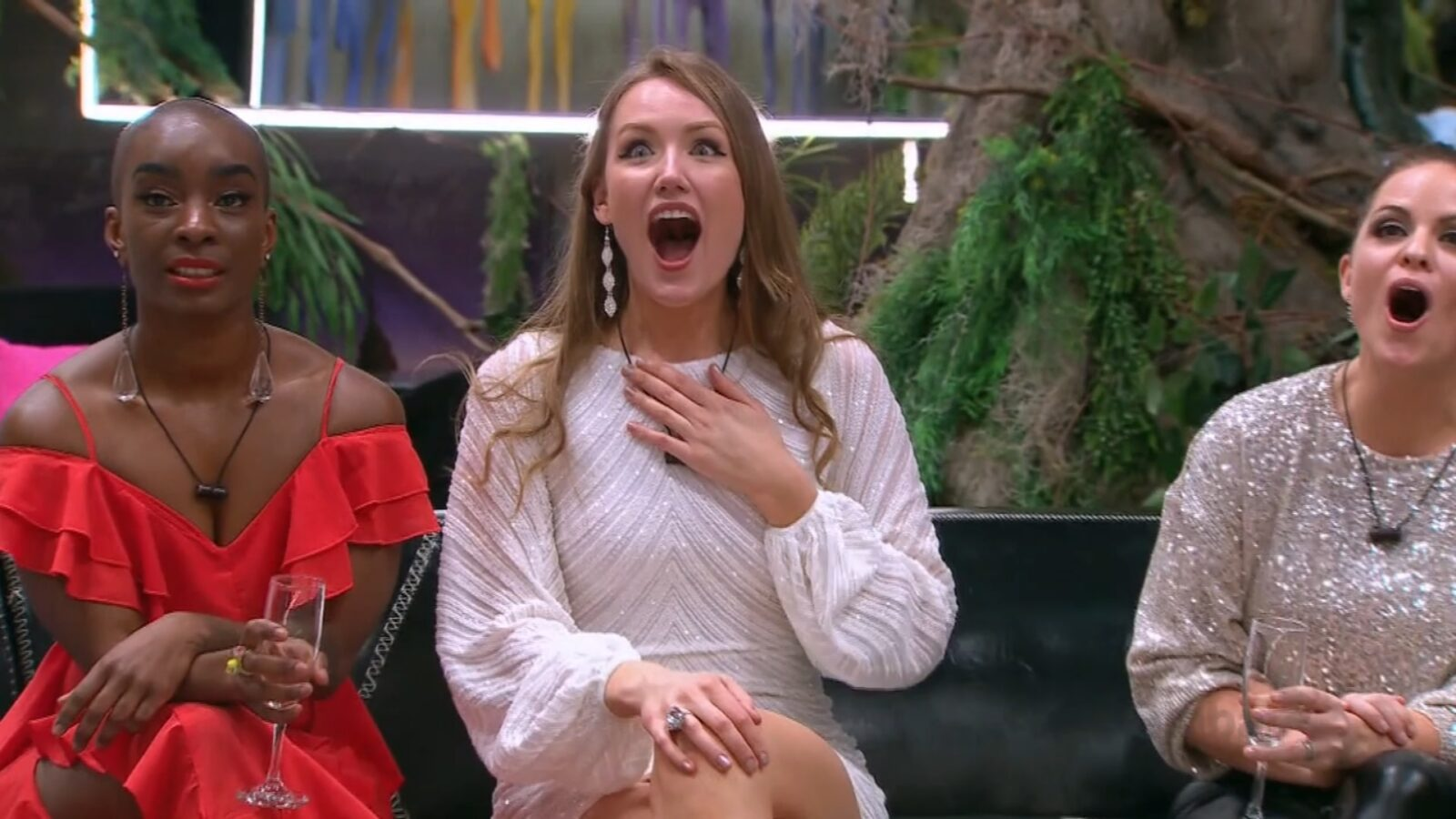 Latoya, Beth, and Tera hearing the twist on Big Brother Canada 9